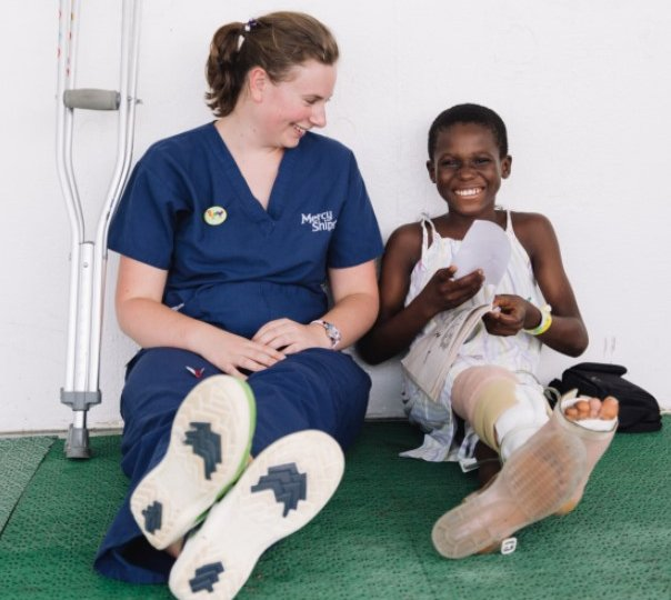 Sarah Ford, Ward Nurse (Pediatric), with a patient on Deck 7.