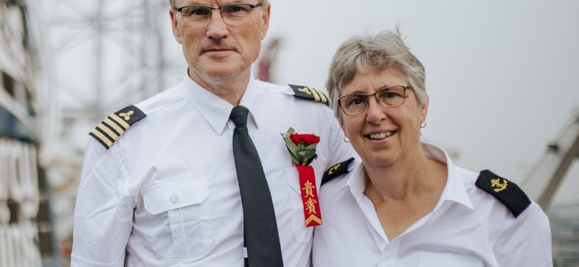 Irik and Cathy Mallie onboard the Global Mercy.
